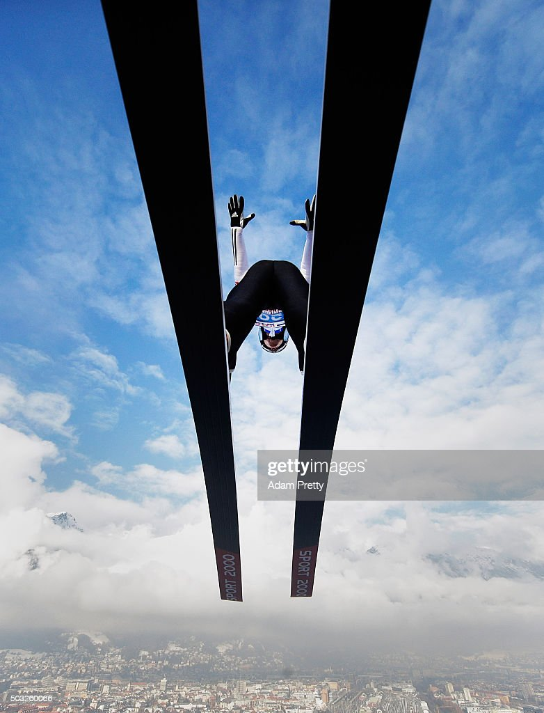 Tom Hilde of Norway launches from the jump during his practice jump on day 2 of the Innsbruck 64th Four Hills Tournament on January 3, 2016 in Innsbruck, Austria.