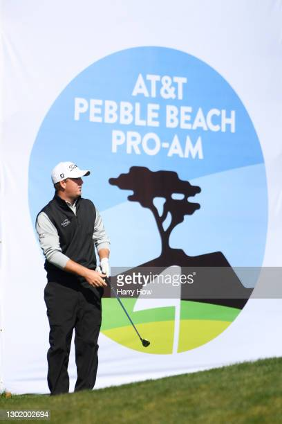 Tom Hoge of the United States plays a shot on the 14th hole during the third round of the AT&T Pebble Beach Pro-Am at Pebble Beach Golf Links on...
