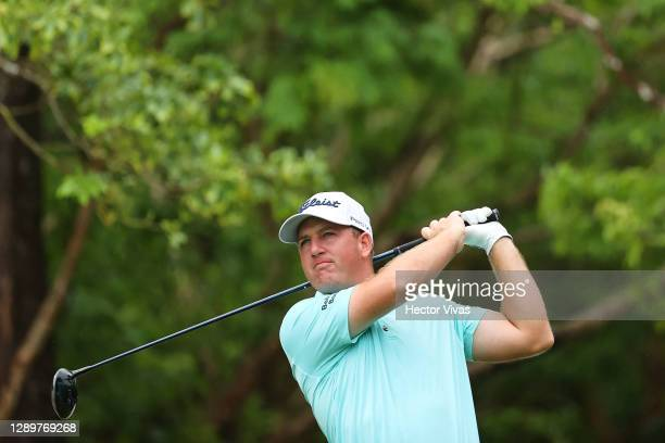 Tom Hoge of the United States plays his shot from the first tee during the final round of the Mayakoba Golf Classic at El Camaleón Golf Club on...