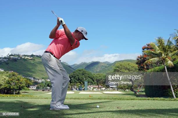 Tom Hoge of the United States plays his shot from the seventh tee during the final round of the Sony Open In Hawaii at Waialae Country Club on...