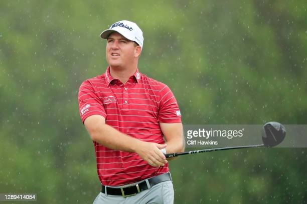 Tom Hoge of the United States plays his shot from the sixth tee during the second round of the Mayakoba Golf Classic at El Camaleón Golf Club on...
