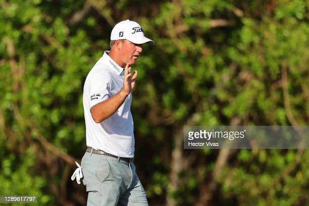 Tom Hoge of the United States reacts on the 16th green during the third round of the Mayakoba Golf Classic at El Camaleón Golf Club on December 05,...
