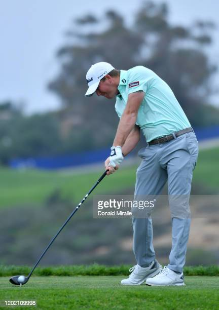 Tom Hoge plays his shot from the fifth tee during the final round of the Farmers Insurance Open at Torrey Pines South on January 26, 2020 in San...