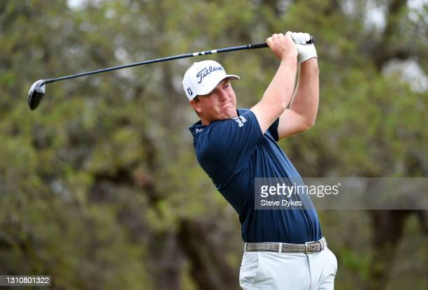 Tom Hoge plays his shot from the second tee during the final round of Valero Texas Open at TPC San Antonio Oaks Course on April 04, 2021 in San...