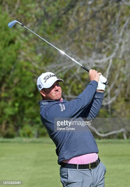 Tom Hoge plays his shot from the seventh tee during the first round of the Valero Texas Open at TPC San Antonio Oaks Course on April 01, 2021 in San...