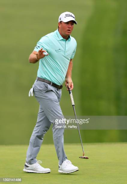 Tom Hoge reacts to his putt during the final round of the Farmers Insurance Open at Torrey Pines South on January 26, 2020 in San Diego, California.