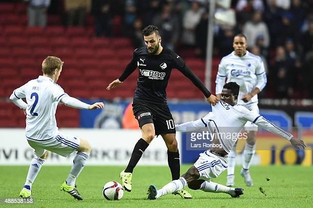 Tom Hogli of FC Copenhagen Mikael Ishak of Randers FC and Daniel Amartey of FC Copenhagen compete for the ball during the Danish Alka Superliga match...