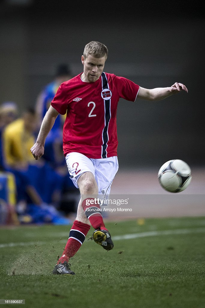 Tom Hogli of Norway controls the ball during the international friendly football match between Norway and Ukraine at Estadio Olimpico de Sevilla on February 6, 2013 in Seville, Spain.
