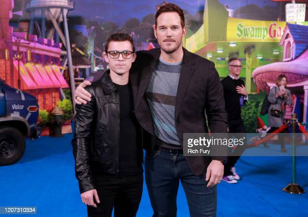 Tom Holland and Chris Pratt attend the Premiere of Disney and Pixar's Onward on February 18 2020 in Hollywood California