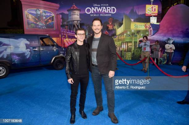 Tom Holland and Chris Pratt attend the world premiere of Disney and Pixar's ONWARD at the El Capitan Theatre on February 18 2020 in Hollywood...