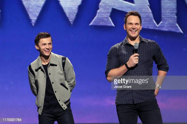 Tom Holland and Chris Pratt of 'Onward' took part today in the Walt Disney Studios presentation at Disney's D23 EXPO 2019 in Anaheim Calif 'Onward'...