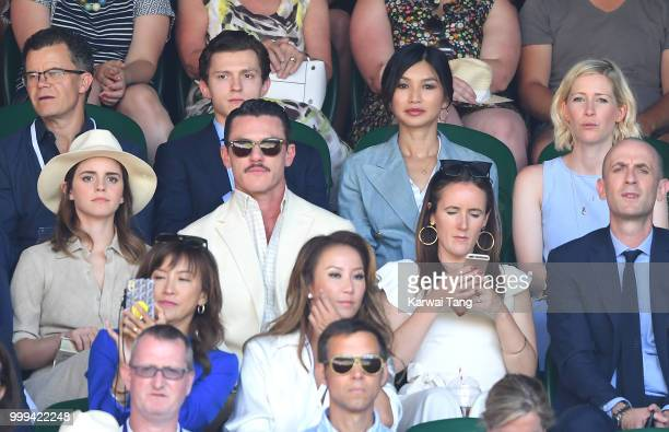 Tom Holland and Gemma Chan Emma Watson and Luke Evans attend the men's singles final on day thirteen of the Wimbledon Tennis Championships at the All...
