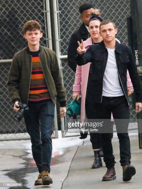 Tom Holland and his brother Harry Holland are seen arriving at the 'Jimmy Kimmel Live' show on December 04, 2019 in Los Angeles, California.