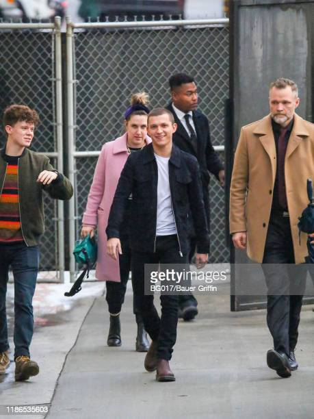 Tom Holland and his brother Harry Holland are seen arriving at the 'Jimmy Kimmel Live' show on December 04 2019 in Los Angeles California