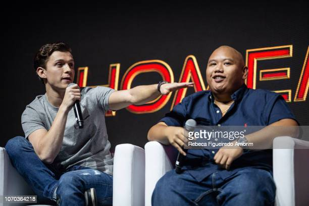 Tom Holland and Jacob Batalon at Sony presentation during Comic Con Sao Paulo on December 8 2018 in Sao Paulo Brazil