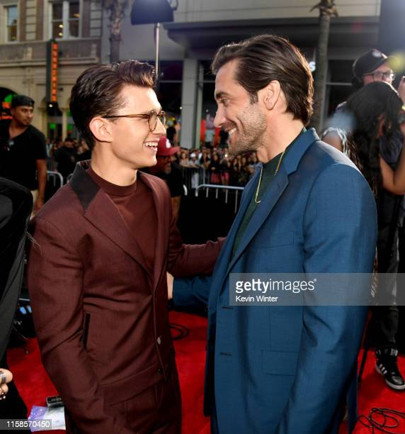 Tom Holland and Jake Gyllenhaal arrive at the premiere of Sony Pictures' SpiderMan Far From Home at TCL Chinese Theatre on June 26 2019 in Hollywood...
