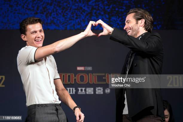 Tom Holland and Jake Gyllenhaal attend 'Fan Fest' the fanmeeting event of 'SpiderMan Far From Home' on June 30 2019 in Seoul South Korea