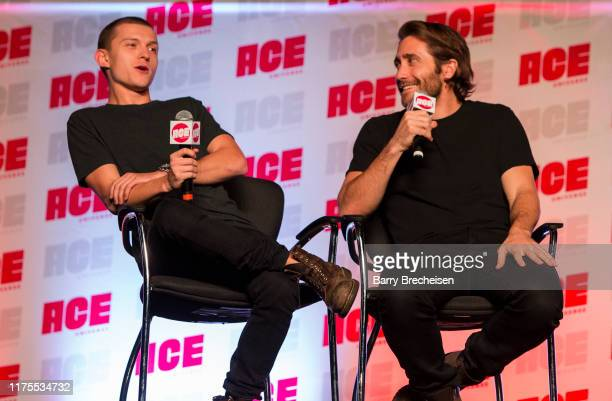 Tom Holland and Jake Gyllenhaal during the ACE Comic Con Midwest at Donald E Stephens Convention Center on October 12 2019 in Chicago Illinois