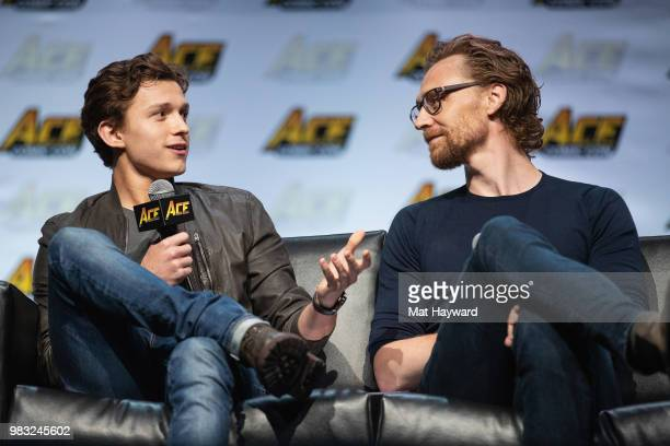 Tom Holland and Tom Hiddleston speak on stage during ACE Comic Con at WaMu Theatre on June 24 2018 in Seattle Washington