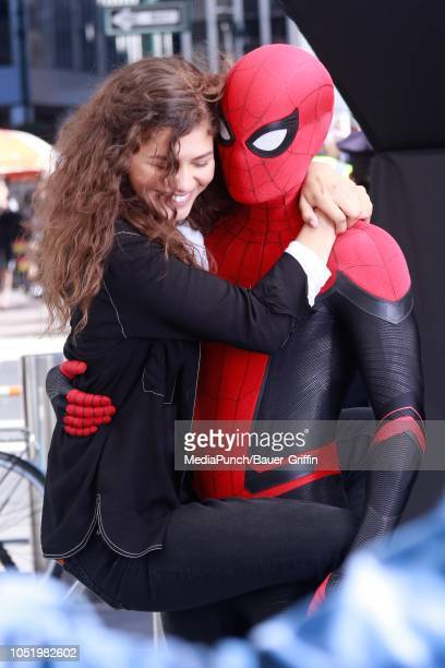 Tom Holland and Zendaya are seen on October 12 2018 in New York City