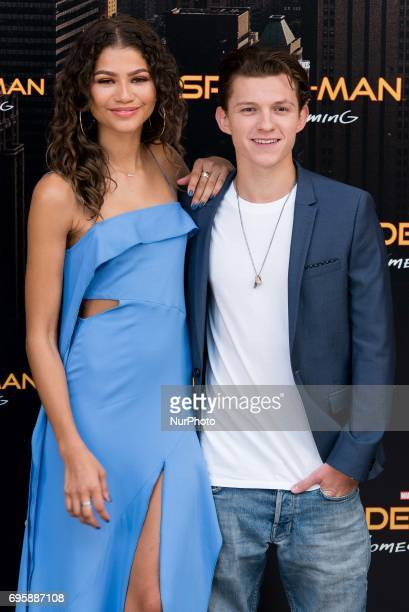 Tom Holland and Zendaya attend the 'Spiderman Homecoming' movie photocall at Villamagna Hotel in Madrid on Jun 14 2017