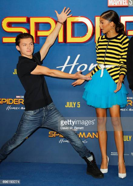 Tom Holland and Zendaya attend the SpiderMan Homecoming photocall at The Ham Yard Hotel on June 15 2017 in London England
