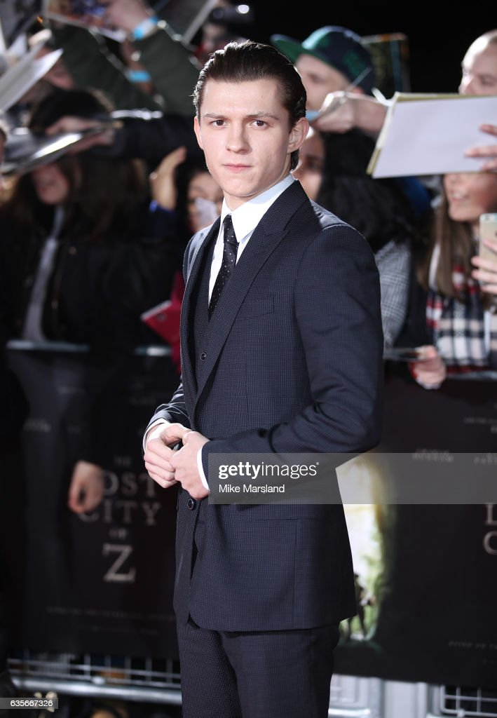 Tom Holland arrives at The Lost City of Z UK premiere on February 16, 2017 in London, United Kingdom.