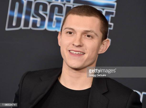 Tom Holland arrives at the premiere of 20th Century Fox's Spies In Disguise at El Capitan Theatre on December 4 2019 in Los Angeles California
