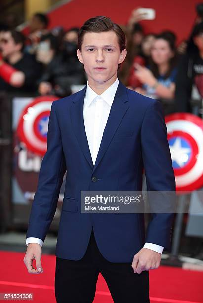 Tom Holland arrives for European Premiere 'Captain America Civil War' at Vue Westfield on April 26 2016 in London England
