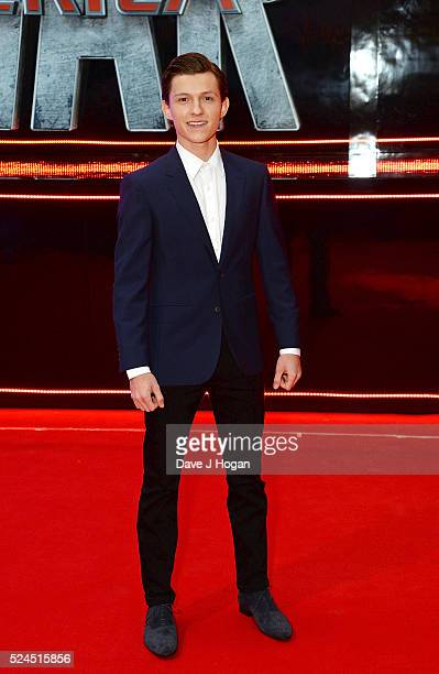 Tom Holland arrives for the European film premiere of 'Captain America Civil War' at Vue Westfield on April 26 2016 in London England