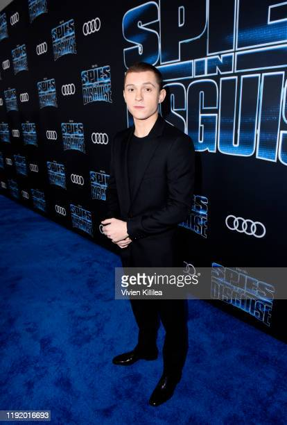 Tom Holland attends Audi Celebrates The World Premiere Of 'Spies In Disguise' on December 04 2019 in Los Angeles California