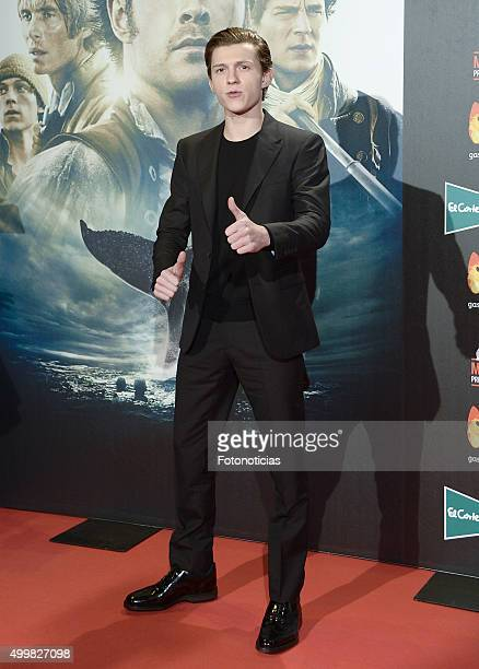 Tom Holland attends the 'In The Heart Of The Sea' Premiere at Callao Cinema on December 3 2015 in Madrid Spain