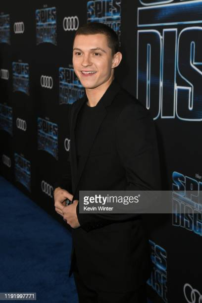 Tom Holland attends the premiere of 20th Century Fox's Spies In Disguise at El Capitan Theatre on December 04 2019 in Los Angeles California