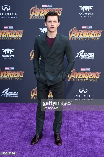 Tom Holland attends the premiere of Disney and Marvel's 'Avengers Infinity War' on April 23 2018 in Los Angeles California