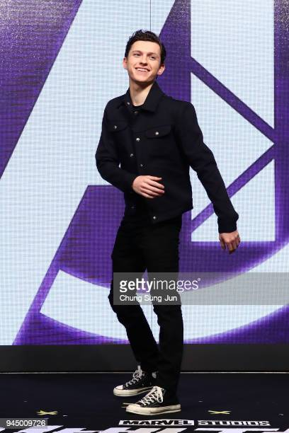 Tom Holland attends the press conference for 'Avengers Infinity War' Seoul premiere on April 12 2018 in Seoul South Korea
