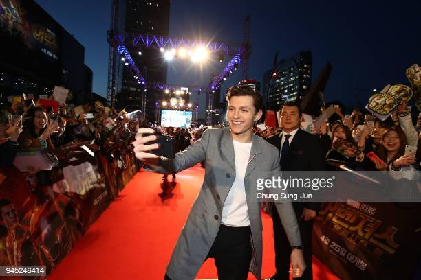 Tom Holland attends the Seoul premiere of 'Avengers Infinity War' on April 12 2018 in Seoul South Korea
