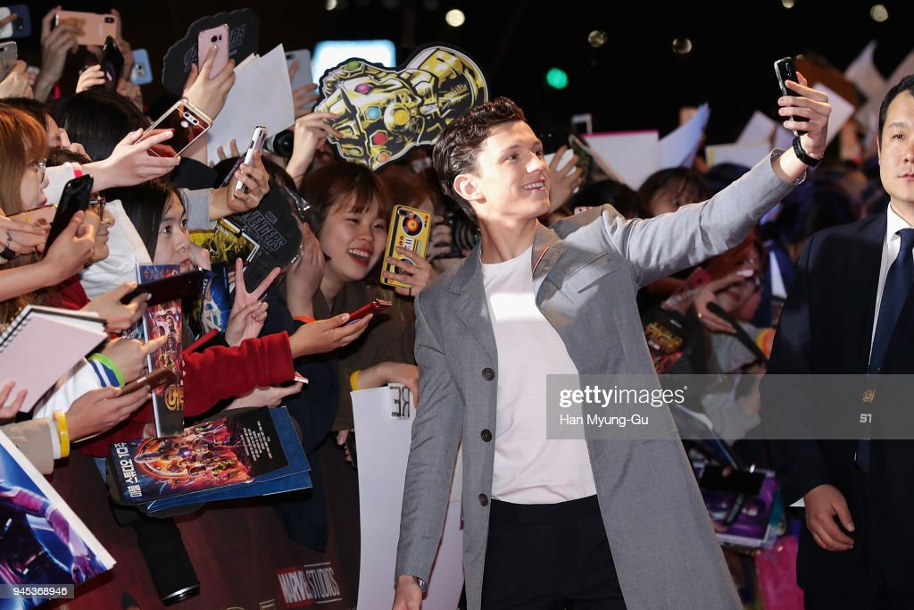 Tom Holland attends the Seoul premiere of 'Avengers Infinity War' on April 12, 2018 in Seoul, South Korea.