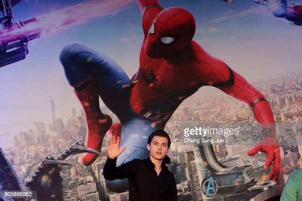 Tom Holland attends the 'SpiderMan Homecoming' press conference at Conrad Seoul Hotel on July 3 2017 in Seoul South Korea