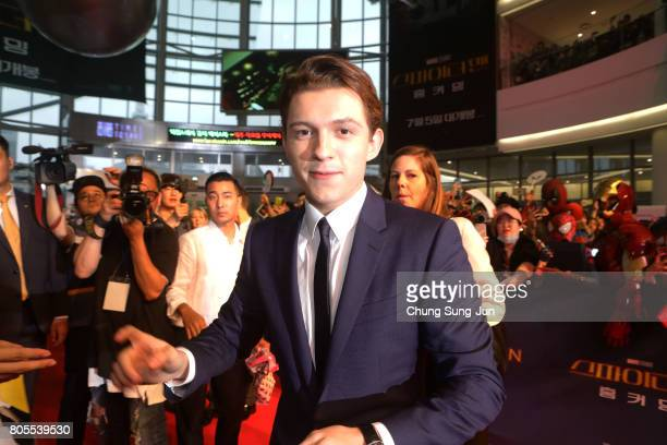 Tom Holland attends the 'SpiderMan Homecoming' Seoul Premiere at Yeongdeunpo Times Square on July 2 2017 in Seoul South Korea