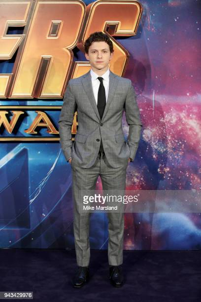 Tom Holland attends the UK Fan Event for Avengers Infinity War at Television Studios White City on April 8 2018 in London England