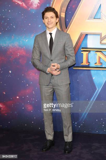 Tom Holland attends the UK Fan Event for 'Avengers Infinity War' at Television Studios White City on April 8 2018 in London England