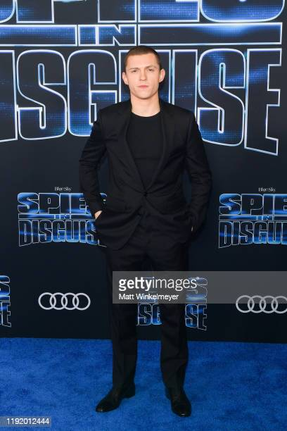 Tom Holland attends thepPremiere of 20th Century Fox's Spies In Disguise at El Capitan Theatre on December 04 2019 in Los Angeles California