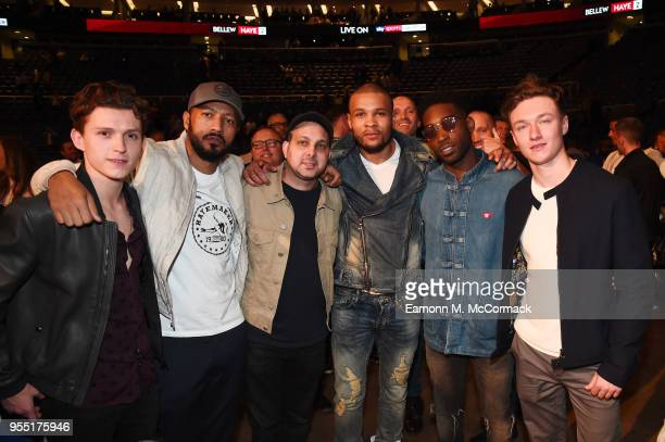 Tom Holland Dynamo Chris Eubank Jr and Tinie Tempah attend the David Haye v Tony Bellew Fight at The O2 Arena on May 5 2018 in London England