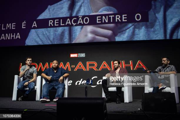 Tom Holland Jacob Batalon and Jake Gyllenhaal at Sony presentation during Comic Con Sao Paulo on December 8 2018 in Sao Paulo Brazil