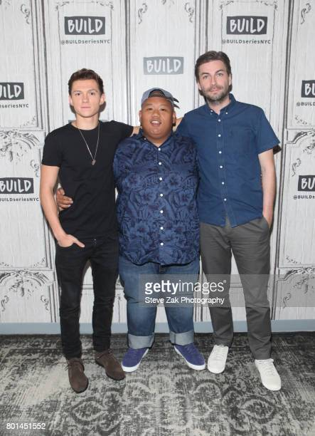 Tom Holland Jacob Batalon and Jon Watts attend Build Series to discuss their new movie SpiderMan Homecoming at Build Studio on June 26 2017 in New...