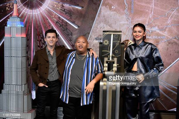 Tom Holland Jacob Batalon and Zendaya attend the SpiderMan Far From Home Cast Light Up The Empire State Building on June 24 2019 in New York City