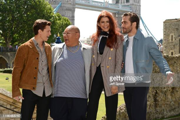 Tom Holland Jacob Batalon Zendaya and Jake Gyllenhaal attend the SpiderMan Far From Home London photo call at Tower of London one of the films iconic...