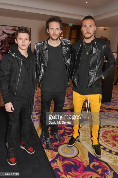 Tom Holland Marc Jacques Burton and Erik Johansson attend the GQ Car Awards 2018 in association with Michelin at Corinthia London on February 5 2018...