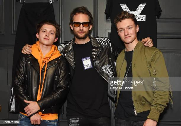 Tom Holland Marc Jacques Burton and Harrison Osterfield attend the MJB x YOTA fashion capsule party supported by Ciroc who have designed MJB x YOTA...