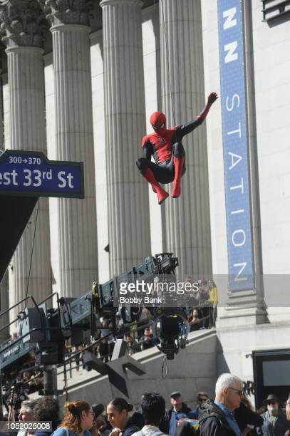 Tom Holland on the set of Spiderman Far From Home on October 12 2018 in New York City